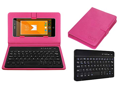 Acm Wireless Bluetooth Keyboard Case Compatible with Iberry Auxus 4X Mobile Flip Cover Stand Study Gaming Pink
