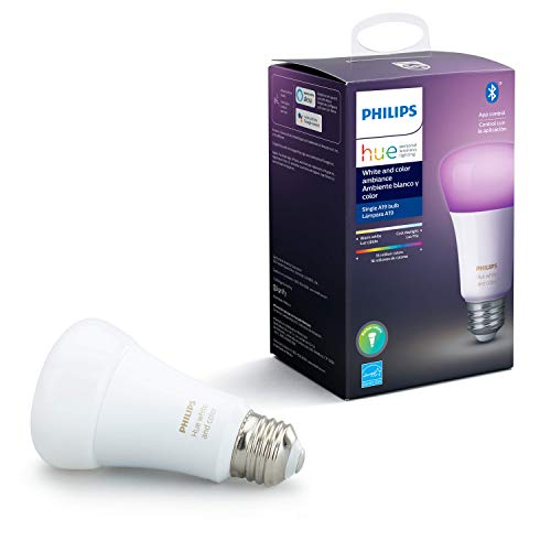Philips Hue White and Color Ambiance A19 LED Smart Bulb, Bluetooth & Zigbee Compatible (Hue Hub Optional), Compatible with Alexa & Google Assistant