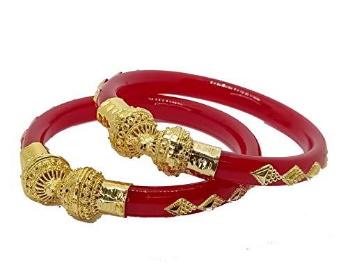 Jill Fashion Plastic Gold Plated Shakha Pola Bangle Set for Women.(Pack of 2)