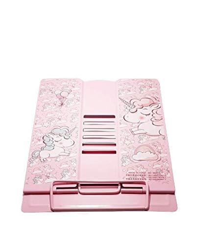 Gift Boxx Unicorn Metal Portable Folding Book Reading Stand Adjustable Desktop (Big Size Stand) (Pink)