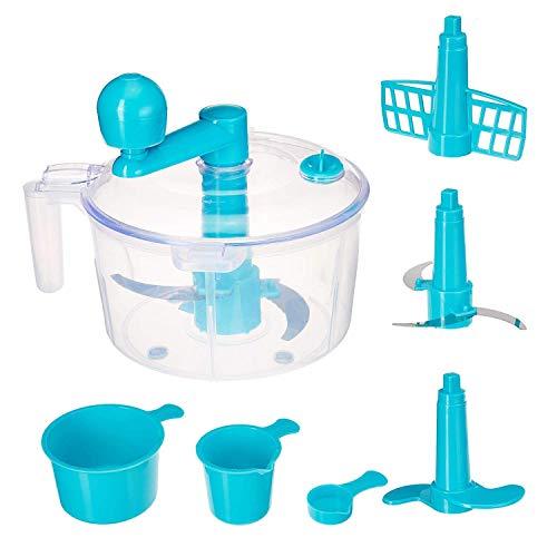 JD Brand Atta Dough Maker with Beater, Vegetable Cutter, Chop & Churn 3 in 1,(Blue)