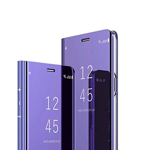 AE Mobile Accessories Mirror Flip Cover Semi Clear View Smart Cover Phone S-View Clear, Kickstand FLIP Case for Oneplus6/ONE Plus 6/1+6 Purple (Sensor flip is not Working)