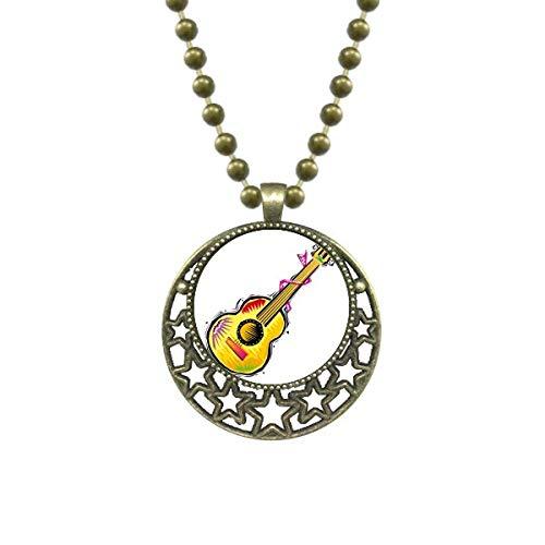 DIYthinkerInstrument Guitar Mexicon Element Illustration Pendant Star Necklace Moon Chain Jewelry