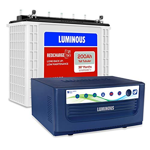 Luminous Eco Volt+ 1550 Pure Sine Wave Inverter with Red Charge RC 25000 200 Ah Tall Tubular Battery for Home, Office & Shops (Blue & White)