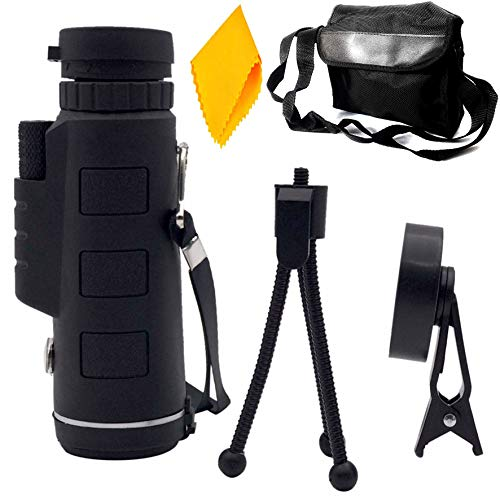 PE Binocular 10x42 with Powerful Lens Foldable Monocular Telescope Long Distance zoomable Vision high Power Wide Angle Sports Hunting Camping Compass with Pouch