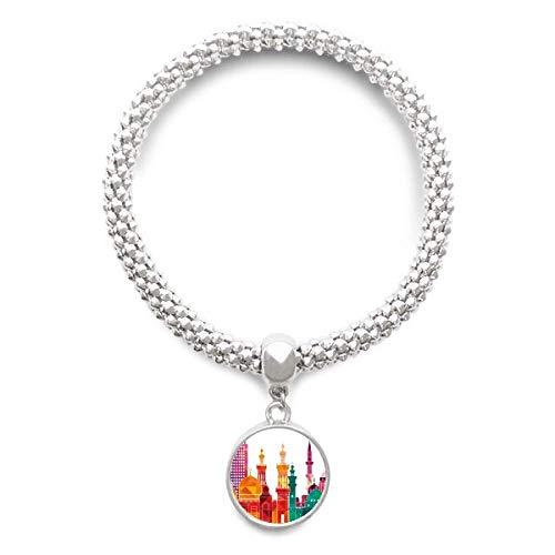DIYthinkerAncient Egypt Morden City Pattern Sliver Bracelet Pendant Jewelry Chain Adjustable Bangle