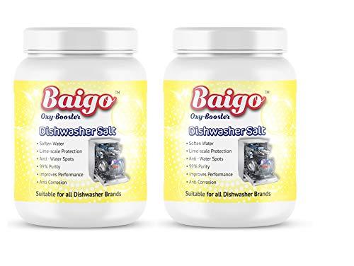 Baigo Dishwasher Salt (1 Kg x 2) - Suitable for all Dishwasher Brands, Pack of 2