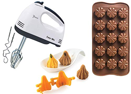 ZUNBELLA Combo of Scarlett Hand Mixer with 4 Pieces Stainless Blender and Silicone Chocolate Mould to Make Chocolate in Shape & Modak Mould to making modak in shape