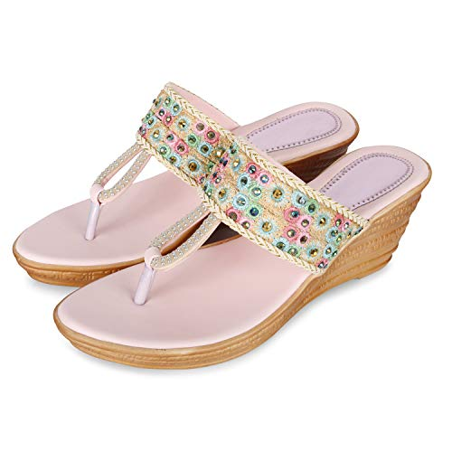 FASHIMO Women's Flat Wedges A17-Pink-36