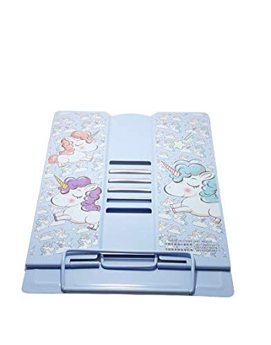 Gift Boxx Unicorn Metal Portable Folding Book Reading Stand Adjustable Desktop (Big Size Stand) (Blue)