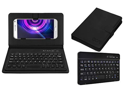 Acm Wireless Bluetooth Keyboard Case Compatible with Auxus Nuclea N2 Mobile Flip Cover Stand Study Gaming Black