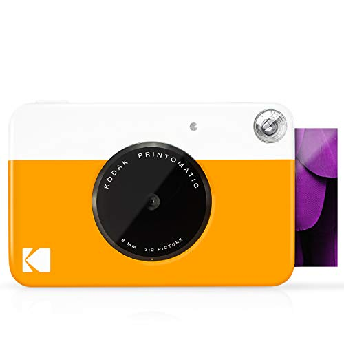 Kodak PRINTOMATIC Digital Instant Print Camera (Yellow), Full Color Prints On Zink 2x3 Sticky-Backed Photo Paper - Print Memories Instantly