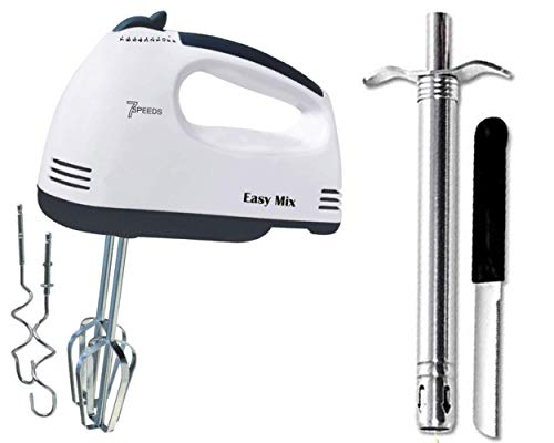 VENIQE Scarlett Electric 7 Speed Hand Mixer with 4 Pieces Stainless Blender, Bitter for Cake/Cream and Stainless Steel Gas Lighter Smart with Stand and Also Get 1 Knife (Combo set of 3 pcs)