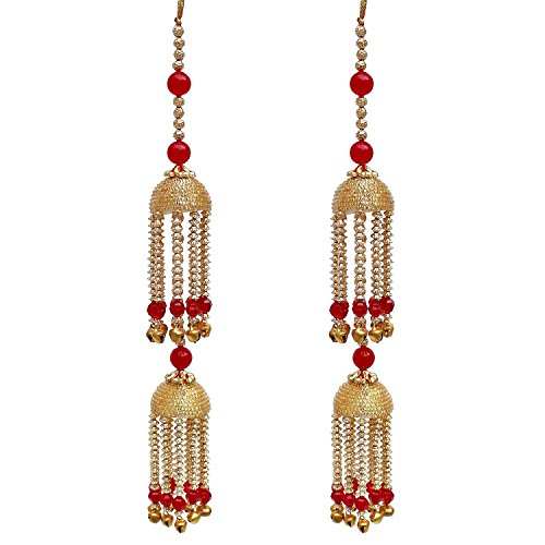 Lucky Jewellery Traditional Red Color Gold Plated kalira for  Women's and Girls (390-QK1-44-RED)