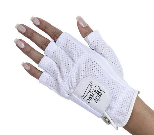 Lady Classic Cabretta 1/2 Finger Golf Glove White Small LH