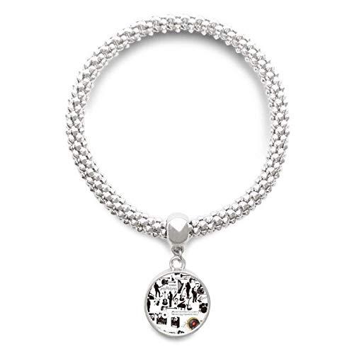 DIYthinkerRock Music Festival Crazy Pattern Sliver Bracelet Pendant Jewelry Chain Adjustable Bangle