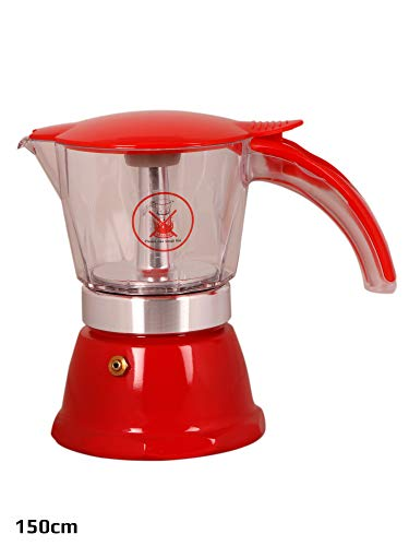 3d Creations 3 Cups Aluminium Polished 150 ml South Indian Filter Degree Coffee Machine (Red)