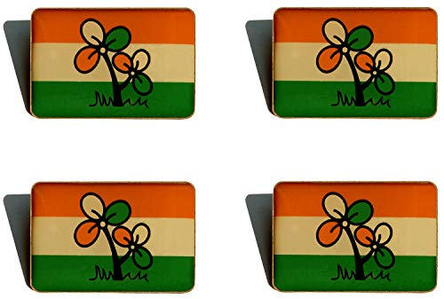 STAMPEX - 4 pieces Trinamool Congress (TMC) Party's Political Pendant Badge Symbol Logo Imported from Malaysia.