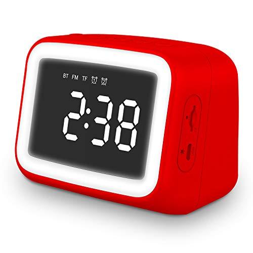 Tooarts TM125 BT511 Mini BT 5.0 Speaker Alarm Clock Radio with FM Radio Supports LED Night Lamp TF Card Temperature Display Micro USB Rechargeable Wireless Speaker
