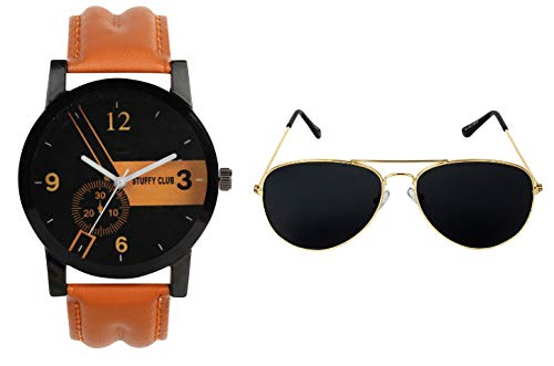 STUFFY CLUB Brown Watch with Black Aviator Golden Sunglass