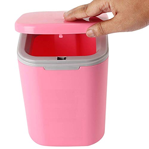 Mini Table Rocking Cover Plastic Trash Can Prakal Dustbin Sundries Car Garbage Can Desktop Trash Dust Bathroom Household Garbage Bin (1 pc Multi Color)