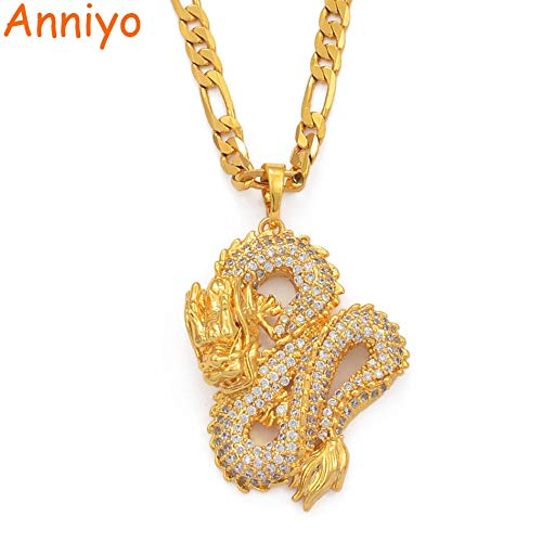 3nh Necklaces Women Model-Pendant Mascot-Ornaments Jewellery Symbol Valentine Day Gifts Dragon Gold-Color (2.8cm)