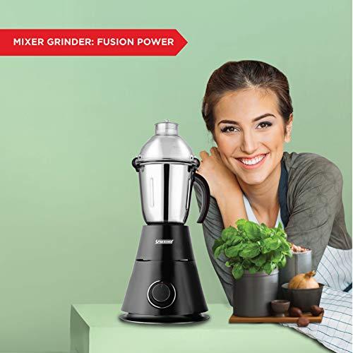 Spherehot Mixer Grinder Fusion Power 750-watt with 3 Jars (Black)