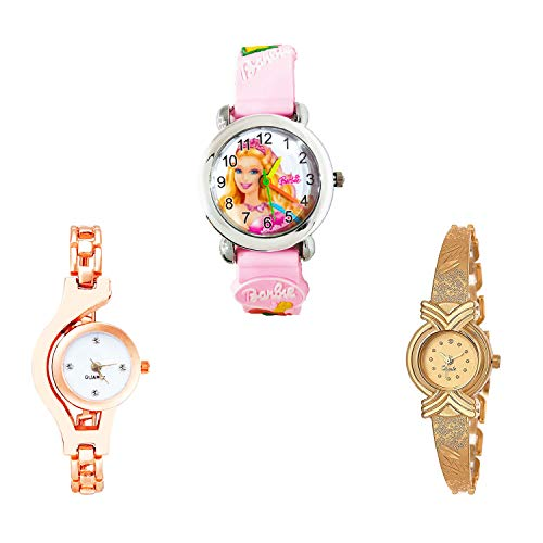 NIKOLA Doll, Chain Analog White and Gold Color Dial Women Watch - G7-G69-G265 (Pack of 3)