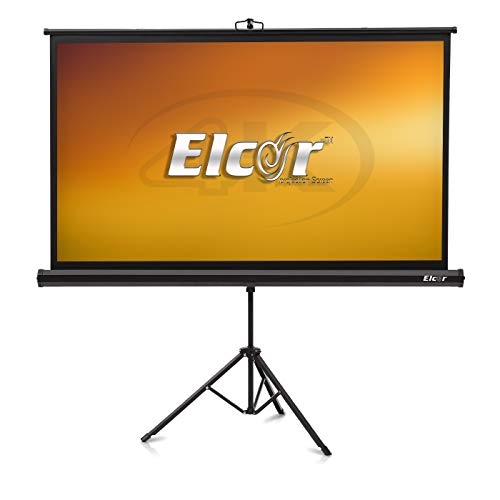 ELCOR® lite Series Tripod / Portable Projection Screen with Stand 84- Inches Diagonal in 4:03 Aspect Format, 4ft. Height x 6ft. Width, UltraHD, 3D, 4k Technology