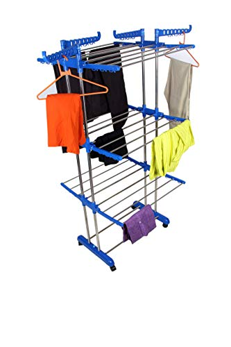 VIMART 3 Layer Clothes Rack Hanger Stainless Steel Floor Cloth Dryer Stand (Multicolor) VIMART Product