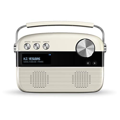 Carvaan Saregama MalDayalam - Portable Music Player with 5000 Preloaded Songs, FM/BT/AUX (Porcelain White)