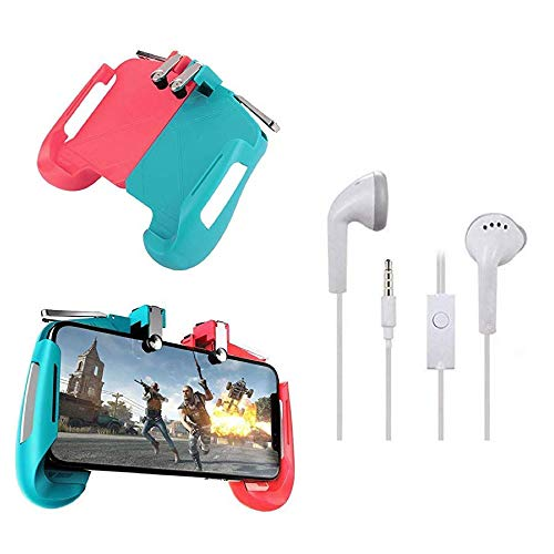 PUNIX®- Premium AK16 Gamepad Handle Grip Wireless Controller Joystick with Metal Button Trigger Key & Universal in-Ear Headsets Mic, Bass, Equalizer & 3.5mm Jack For Android&iOS Smartphone (Assorted)