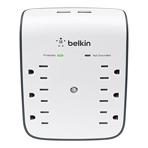 Belkin SurgePlus 6-Outlet Wall Mount Surge Protector with Dual USB Ports (2.1 AMP/10 Watt), BSV602tt