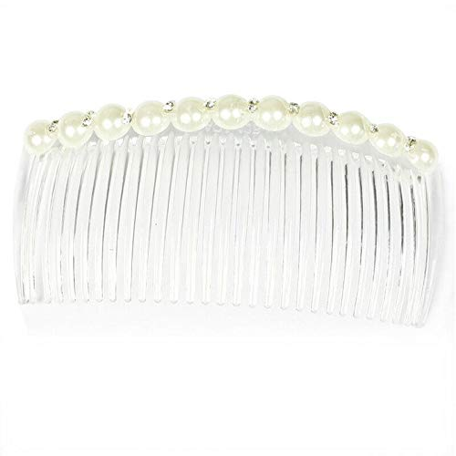 ELECTROPRIME White Faux Pearl Rhinestone Decorative Hair Comb Clip Hair Clip for Lady F1Q9