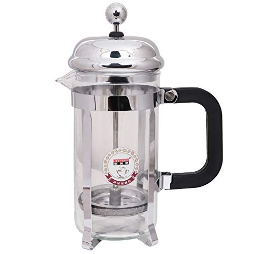 3dcreations French Press Coffee Maker 350 ML, 4 Part Superior Filtration System, Heat Resistant Borosilicate Carafe with Measurement Markings