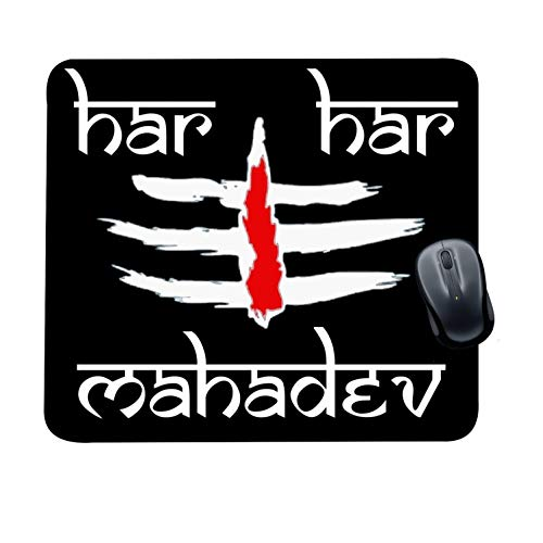 Family Shoping Year Gifts Item Office Printed Har Har Mahadev Mousepad for Computer, PC, Laptop, Black