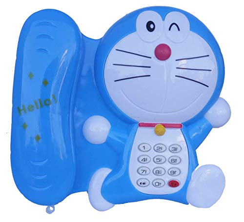 GifteQ Musical Toy-Battery Operated Sky Blue Doremon Telephone for Kids (Battery Not Included)