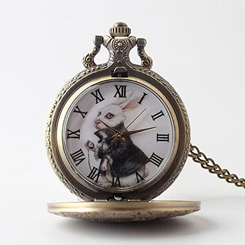 Cute Anime Alive in Wonderland Clock Necklace Movie Figure Watch Rabbit Pendant Long Chain Vintage Bronze Pendant