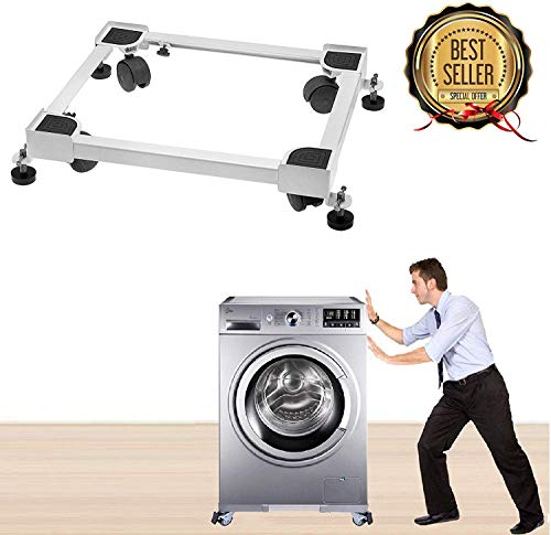 HOLME'S QNF054 Adjustable Front & Top Load Washing Machine Trolley with Wheels/Stand/Refrigerator/Fridge/Dishwasher/Air Cooler Trolley/Stand (White)