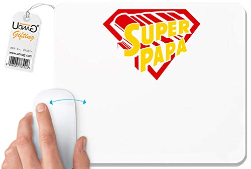 UDNAG White Mousepad 'Papa | Superman Papa' for Computer/PC/Laptop [230 x 200 x 5mm]