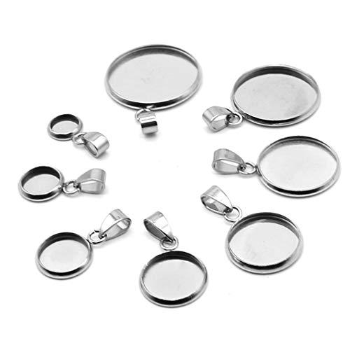 HEALLILY 20pcs Round Bezel Blanks Silver Jewelry Cabochon Trays DIY Jewelry Making Tray Pendants for Necklace Bracelet Chain