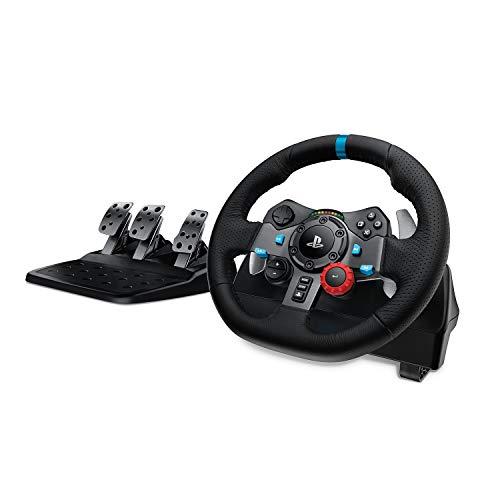 Logitech G29 Driving Force Racing Wheel and Floor Pedals, Real Force, Stainless Steel Paddle Shifters, Leather Steering Wheel Cover, Adjustable Floor Pedals, PS4/PS3/PC/Mac – Black