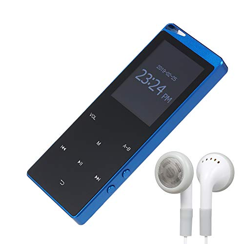 Walmeck- 4GB MP3 Player Portable Ultra-Thin Digital Music Player TF Card Slot Touch Button FM Radio Support BT Function with 3.5mm Headphones Metal Shell Rechargeable Battery