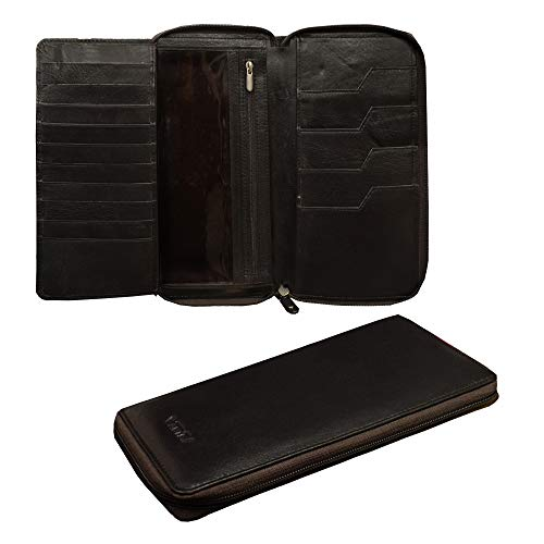ABYS Genuine Leather Brown Unisex Card Holder||Passport Wallet||Money Purse||Mobile Cover for 4 Passports