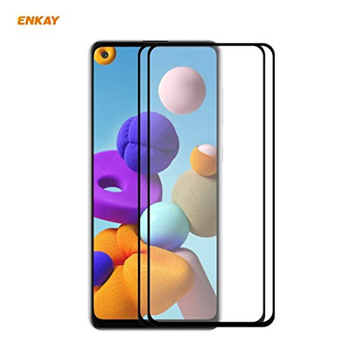 JUUANFDFINGD Cell Phones Screen Protectors for Samsung Galaxy A21s 2 PCS Hat-Prince Full Glue 0.26mm 9H 2.5D Tempered Glass Full Coverage Film