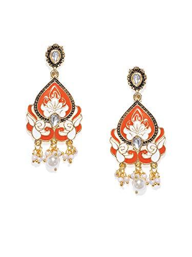 Zaveri Pearls Gold Tone Enamelling Traditional Dangle Earring For Women-ZPFK7893