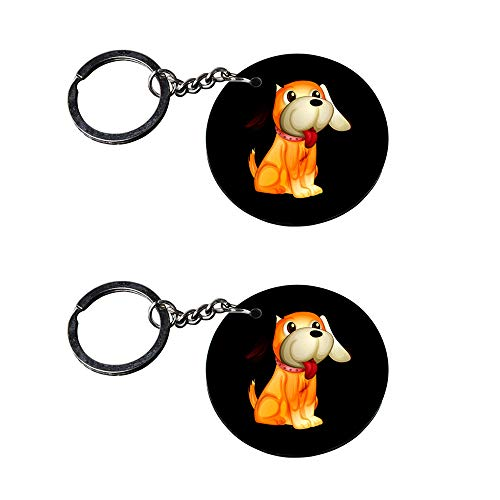 Anuman007 | red Dog Keychain | Keychain for Phone case Printed Wooden Keychains | Circle Shape Set of 2 keyrings 2x2 inch