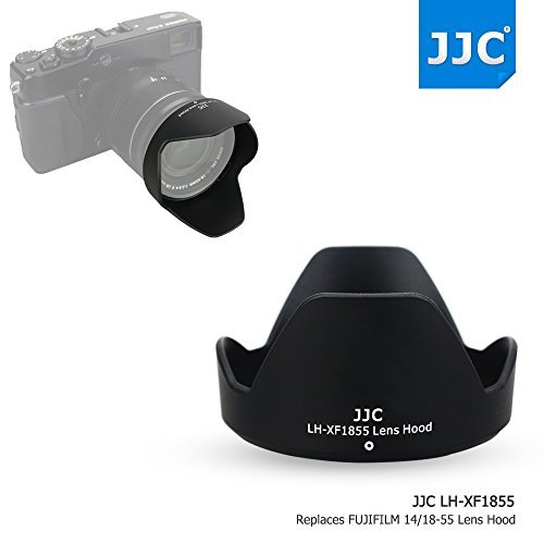 JJC ABS Reversible Black Camera Lens Hood for Fujifilm FUJINON XF 18-55mm F2.8-4 R LM OIS & FUJINON XF 14mm F2.8 R Lens as Fujifilm 14/18-55 Lens Hood on X-Pro2 X-Pro1 X-T2 X-T1 X-T20 X-T10 X-E2S