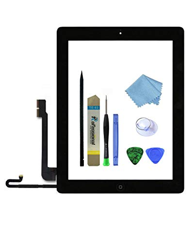 Zentop Touch Screen Digitizer Replacement Assembly for Black iPad 4 Model A1458, A1459, A1460 with Home Button, Camera Holder ,Preinstalled Adhesive,Frame Bezel, Tool Kit.