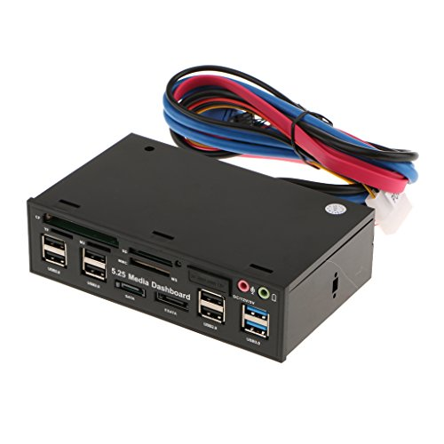 5.25'' Media Dashboard 2xUSB 3.0 6xUSB2.0 ESATA/SATA Front Panel Card Reader